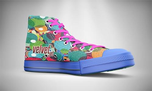 Velvet Jet textile printing on foot wear